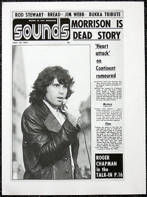 The Doors Poster Page . Jim Morrison Dead - Sounds 1971 Front Cover Repro. H76