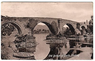 Postcard Old Bridge of Forth & Rowing Boats Stirling Scotland 1917