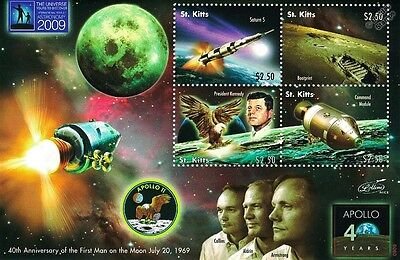 First Man on the Moon Space Stamp Sheet (2009 St Kitts) JFK / Apollo XI Crew