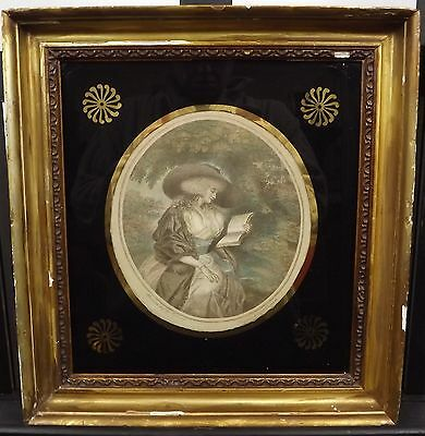 Antique Gilt-Framed J.r. Smith Engraving 'delia In The Country' After G Moreland