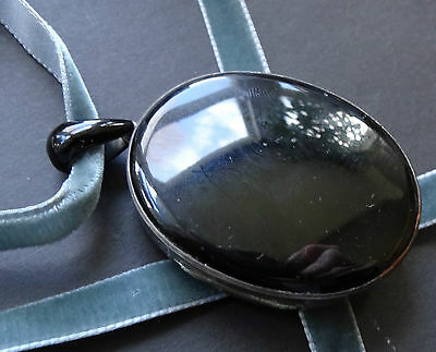 antique Victorian SILVER french jet black glass mourning hair locket pendant 469