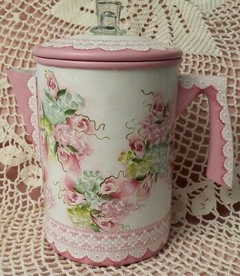 Vintage Coffee Pot Hand Painted Cottage Chic Pink Rose Hydrangea Shabby Lace HP