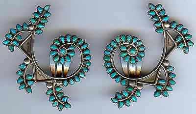 Gorgeous Large Vintage Zuni Indian Silver Multi Turquoise Swirl Clip On Earrings