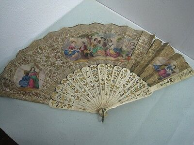 Antique Carved Fan 19th Century with romantic scenes painted by hand to repair