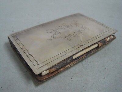 Antique Mother of Pearl craved with flowers Notebook appointment book