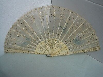 Antique Carved Fan 19th Century  to repair