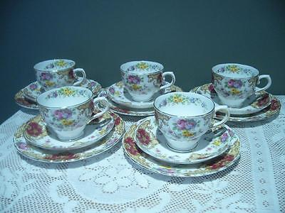 5 X Tuscan China England 'provence' Tea Set Trios - 15 Pieces - Good Condition