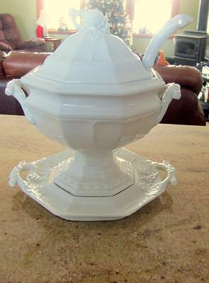 Red Cliff Grape Ironstone  Soup Tureen Underplate Ladle Lid