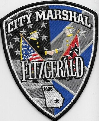 Fitzgerald Ga Police Dept  Fpf State Outline Cross Flages Flags Canon Civil War