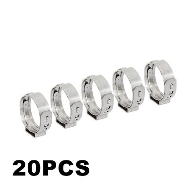 """20pcs 3/4"""" PEX Stainless Steel Ear Clamp Cinch Ring Crimp Pinch Fitting Tubing"""
