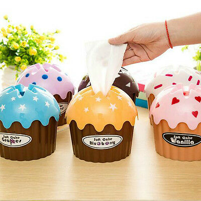 Cute Ice Cream Cupcake Tissue Box Holder Paper Container Cover Home Decor