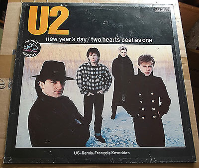 """U2 New Year's Day - French Import 12"""" - 1983 Island 45 T. 1//1 1//2 Excellent"""