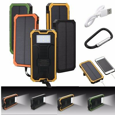 USB Portable External Battery Solar Power Bank Dual Charger For Phones 100000mAh