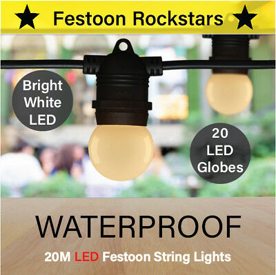 20m Black Festoon LED String Lights | Outdoor | Patio | LED Lighting | Party