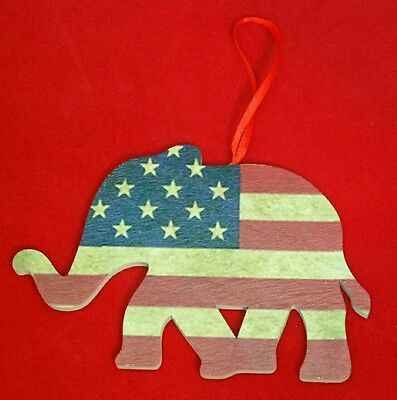 Stars & Stripes American Flag Republican Elephant CHRISTMAS Wood Ornament Gift