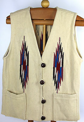 Vtg ORTEGA'S Chimayo NM Hand-Woven 100% Wool Indian Blanket Vest Ivory Sz L/XL