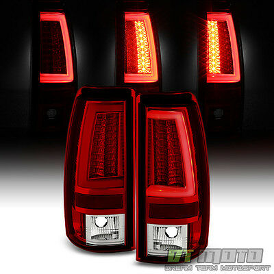 1999 2000 2001 2002 Chevy Silverado1500 2500 3500 Red Clear LED Tube Tail Lights