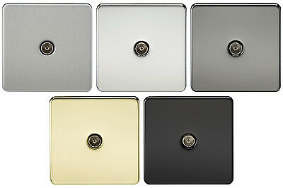 Knightsbridge ST0110-1G twin coaxial unisolated tv outlet blanc plaque murale