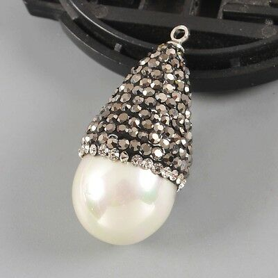 White Shell Pearl Pave Zircon Charm One Bail B027380