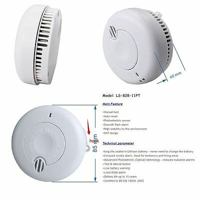 Smoke Alarm Lithium Battery Powered with 10 Year Life 9v Optical Wireless Fire