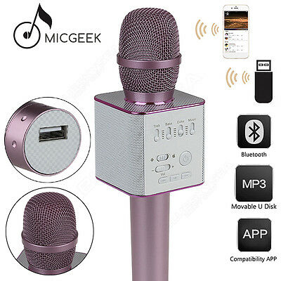 MicGeek Q9 Microphone Wireless Portable KTV USB Play W/ Mic Pink For Smartphone