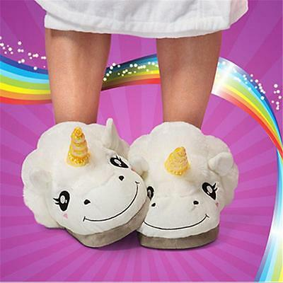 Slip On Adult Size Fantasy White Unicorn Plush Cotton Slippers Indoor Shoes -8C