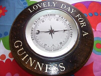 GUINNESS Vintage Wooden Aneroid Wall Barometer. LOVELY DAY FOR A GUINNESS