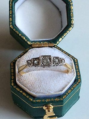 EDWARDIAN Old Cut Diamond Eternity 18ct Yellow Gold & Platinum Ring Size T1/2 3g