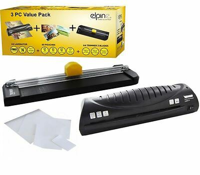 New 3 PIECE VALUE PACK ELPINE Laminator, Trimmer & Pouches Ofice Stationary