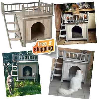 Outdoor Cat Dog Den House Pet Shelter Kennel Indoor Outside Wooden 2 Deck Stairs