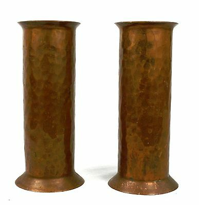 Antique Arts & Crafts Copper Vases Cylindrical Pair Hand Hammered