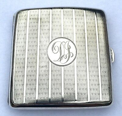 Beautiful Solid Sterling Silver Cigarette Case Engraved, 98.4g, 1945