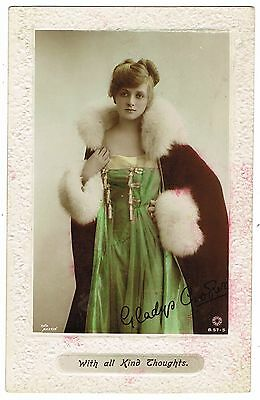 Early Hand Painted Real Photo Postcard - Miss Gladys Cooper in Robe - Actress