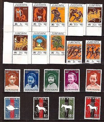 SURINAME timbres neufs:  Art grec,enfants indo-americain,animaux 320T3