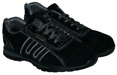 Mens Black/grey Lace Up Steel Toe Cap Safety Trainer In Size 13