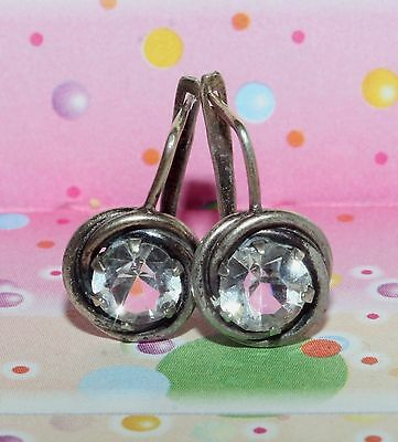 Soviet USSR Vintage EARRINGS SILVER 875 Russian RARE Antique