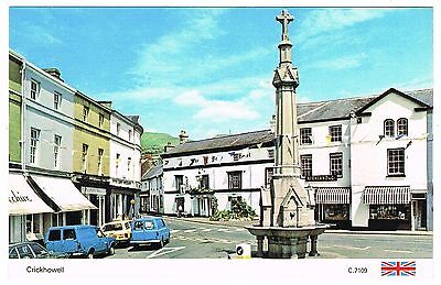 Postcard - Cars & Fountain Crickhowell - Breconshire Wales