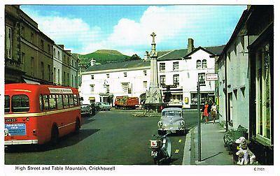 Postcard - Bus & Scooter in High Street Crickhowell - Breconshire Wales