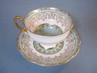 Royal Standard Teacup and Saucer Set Turquoise w/ Gold Gilt Pattern