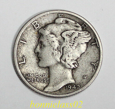 1942 USA Dime 90% Silver Circulated  102z