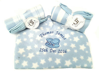 personalised baby booties  embroidered BABY BLANKET 75CM-75 CM  SOFT & cosy new!