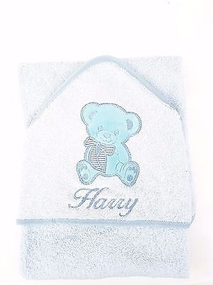 personalised BLUE Beautiful Embroidered BEAR Baby Hooded Towel - Bath Robe