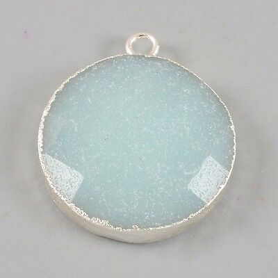 Round Natural Amazonite Faceted Charm One Bail Silver Plated B026721