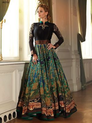 $75 Hot Deal - Delightful Black and Gold Anarkali Dress – With Side Zipper 38-40