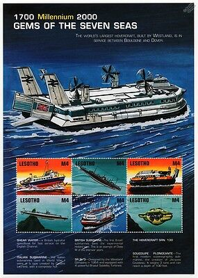 Ship Stamp Sheet (Hydrofoil Speedboat/WWI Submarine/Hovercraft) / 2000 Lesotho