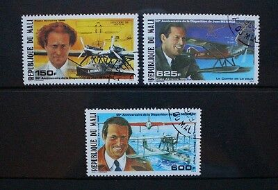MALI 1986 Disappearance of Jean Mermoz Aviation. Set of 3. Fine USED SG1109/1111