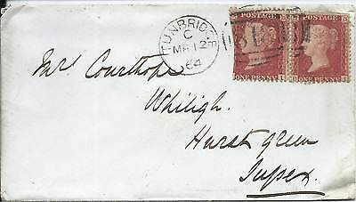 GB 1864 1d Red Stars Pair Cover with Tunbridge 818 Duplexes to Hurst Green
