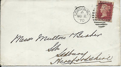 GB 1870 1d Red Pl.103 Cover with London WC Duplex to Ledbury