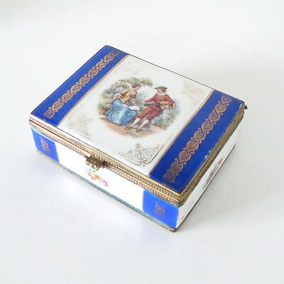 Porcelain Trinket Jewelry Dresser Box Gilt Bronze Hinged. Courting Scene 19th C