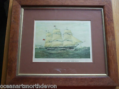 Antique Print C1800's The Clipper Ship Anglesey 1150 Tons Boat Nautical Vintage